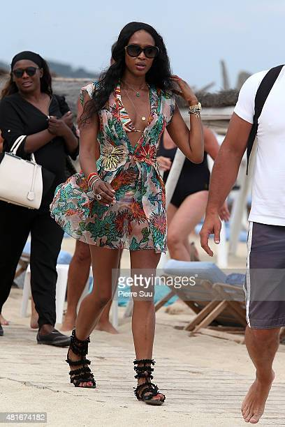 Naomi Campbell arrives at club 55 on July 23 2015 in SaintTropez France
