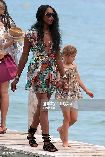 Naomie Campbell arrives at club 55 on July 23 2015 in SaintTropez France