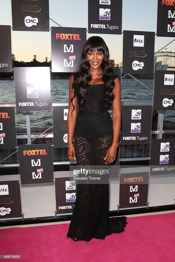 <a gi-track='captionPersonalityLinkClicked' href=/galleries/search?phrase=Naomi+Campbell&family=editorial&specificpeople=171722 ng-click='$event.stopPropagation()'>Naomi Campbell</a> arrives at the Foxtel Music Channels Summer Launch at the Botanic Gardens on December 3, 2013 in Sydney, Australia.