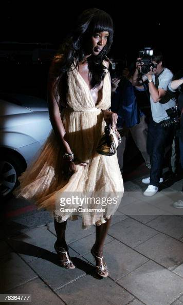 Naomi Campbell arrives at the London Black Leaders Dinner held at the Dorchester Hotel on August 28 2007 in London England The dinner is for leading...
