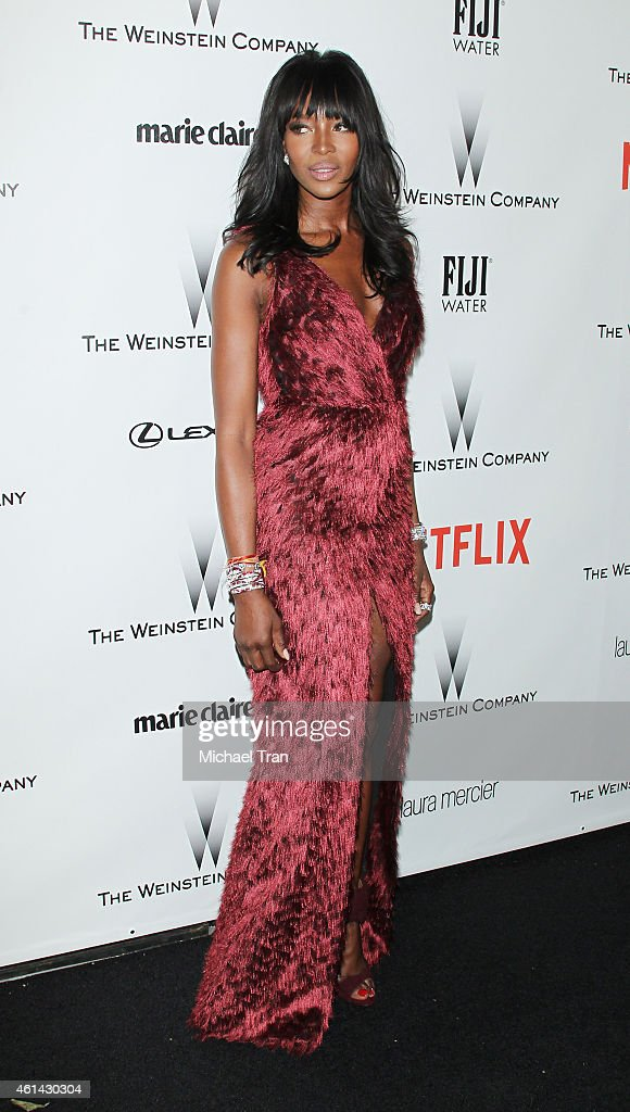 Naomi Campbell arrives at The Weinstein Company and Netflix Golden Globes afterparty held on January 11 2015 in Beverly Hills California