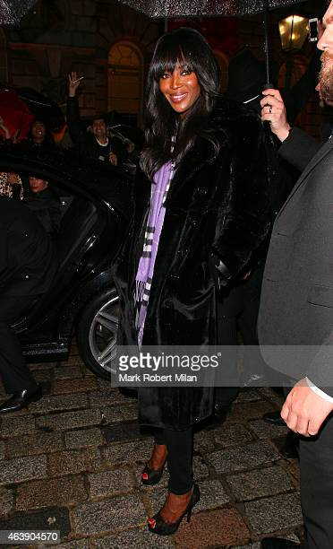 Naomi Campbell attending the Fashion For Relief LFW FW15 show on February 19 2015 in London England