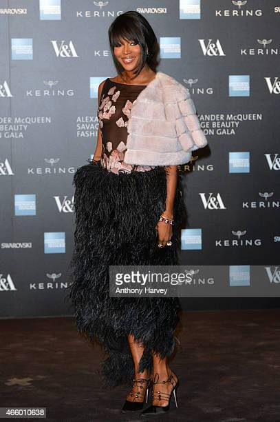 Naomi Campbell attends a private view for the 'Alexander McQueen Savage Beauty' exhibition at Victoria Albert Museum on March 12 2015 in London...