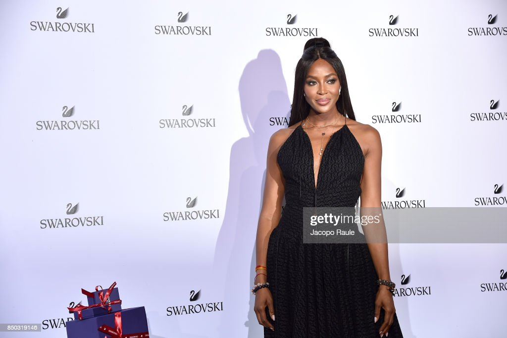 Naomi Campbell attends Swarovski Crystal Wonderland Party on September 20, 2017 in Milan, Italy.