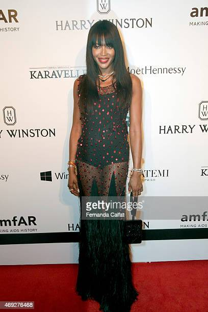 Naomi Campbell attends the 5th Annual amfAR Inspiration Gala at the home of Dinho Diniz on April 10 2015 in Sao Paulo Brazil