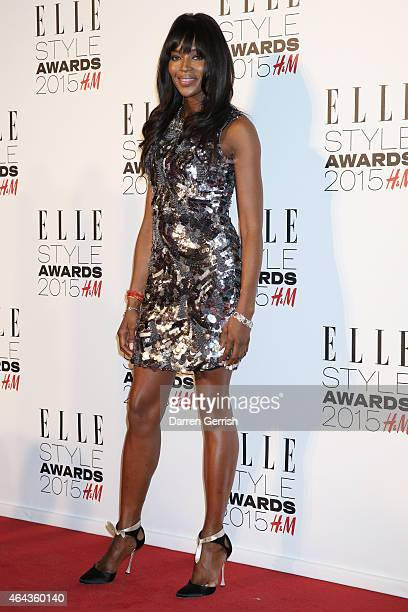 Naomi Campbell attends the Elle Style Awards 2015 at Sky Garden @ The Walkie Talkie Tower on February 24 2015 in London England