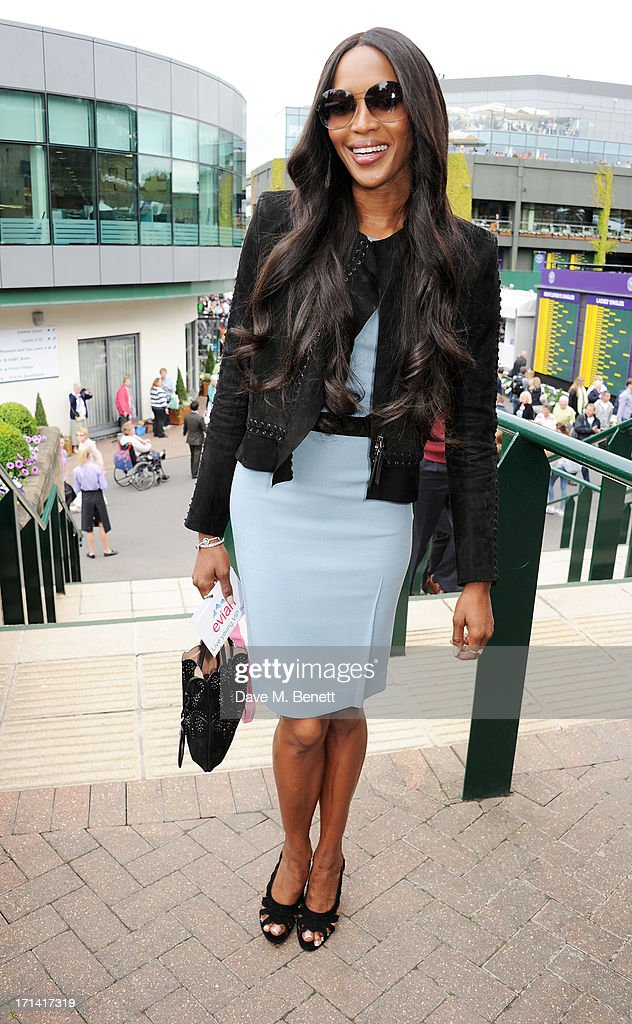 <a gi-track='captionPersonalityLinkClicked' href=/galleries/search?phrase=Naomi+Campbell&family=editorial&specificpeople=171722 ng-click='$event.stopPropagation()'>Naomi Campbell</a> attends the evian 'Live Young' Suite at Wimbledon on June 24, 2013 in London, England.