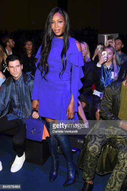 Naomi Campbell attends the Versace show during Milan Fashion Week Fall/Winter 2017/18 on February 24 2017 in Milan Italy