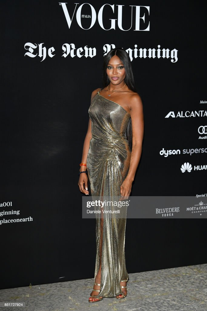 Naomi Campbell attends theVogue Italia 'The New Beginning' Party during Milan Fashion Week Spring/Summer 2018 on September 22, 2017 in Milan, Italy.