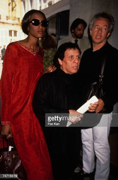 Naomi Campbell Azzedine Alaia Gilles Bensimon On Departure of Jean Paul Gaultier High Fashion Show at the Theatre des Champs Elysees in Paris France