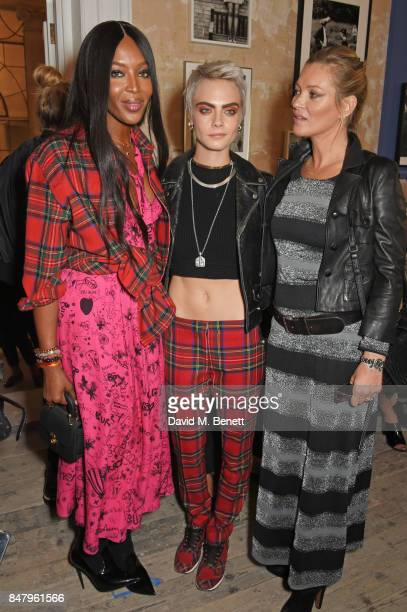 Naomi Campbell Cara Delevingne and Kate Moss wearing Burberry at the Burberry September 2017 at London Fashion Week at The Old Sessions House on...