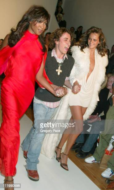 Naomi Campbell Esteban Cortazar and Carmen Kass during Esteban Cortazar Fall 2003 Fashion Show at MAO Space in NYC in New York NY United States