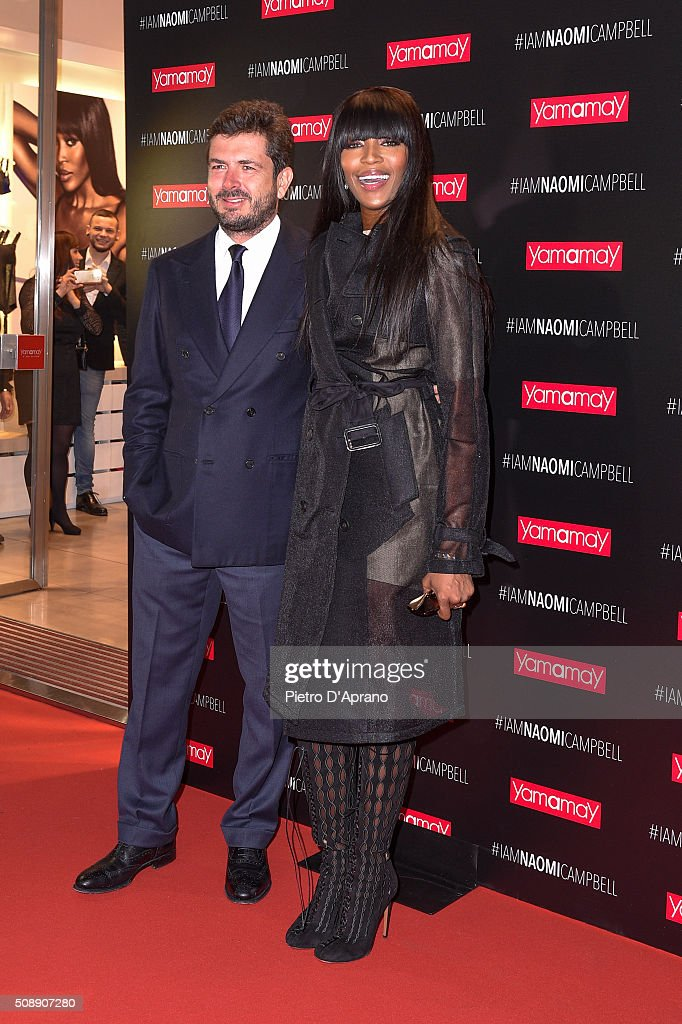 <a gi-track='captionPersonalityLinkClicked' href=/galleries/search?phrase=Naomi+Campbell&family=editorial&specificpeople=171722 ng-click='$event.stopPropagation()'>Naomi Campbell</a>, Gianluigi Cimmino, Presents New Yamamay Collection In Milan on February 7, 2016 in Milan, Italy.