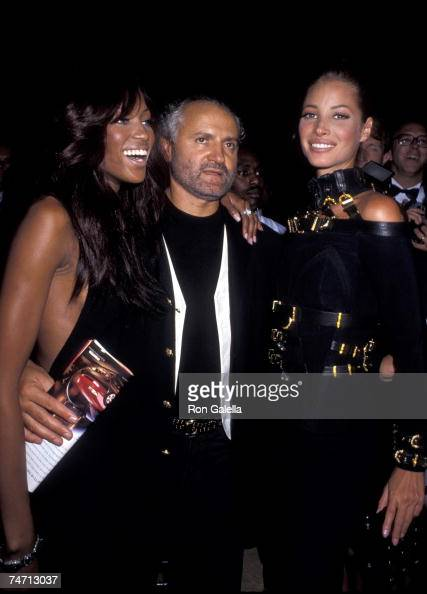 Naomi Campbell Gianni Versace and Christy Turlington at the Park Avenue Armory in New York City New York