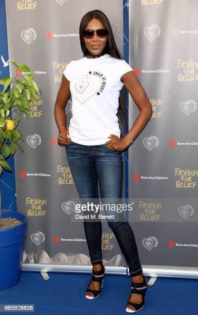 Naomi Campbell hosts a poolside press conference for Fashion for Relief at Versini GREY GOOSE popup on May 20 2017 in Cannes France