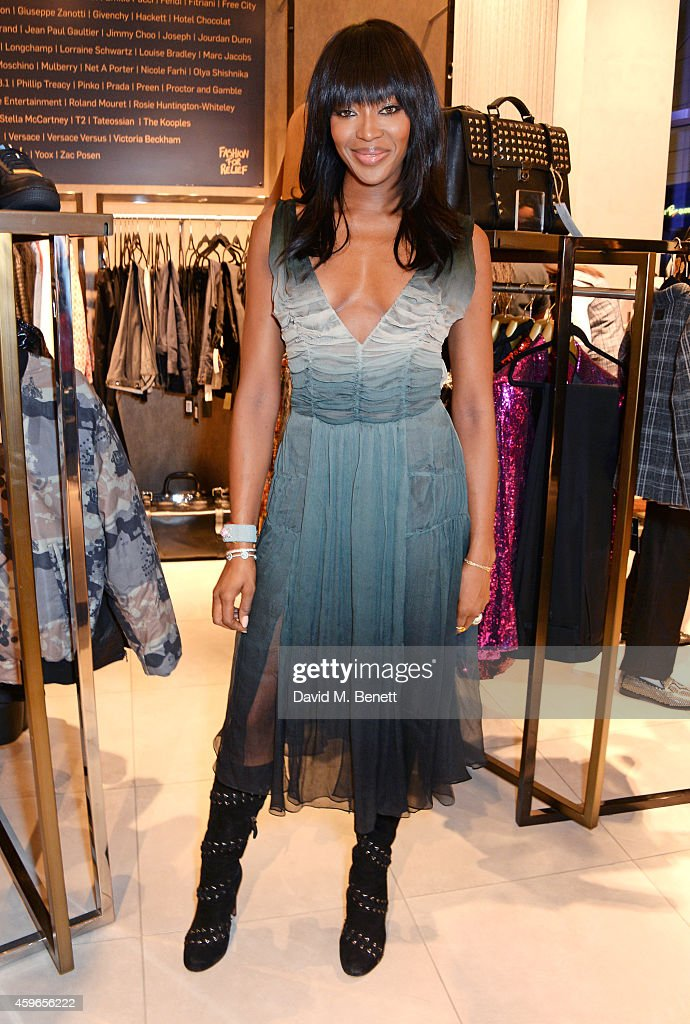 Naomi Campbell launches the Fashion For Relief PopUp at The Village Westfield London on November 27 2014 in London England The Fashion For Relief...