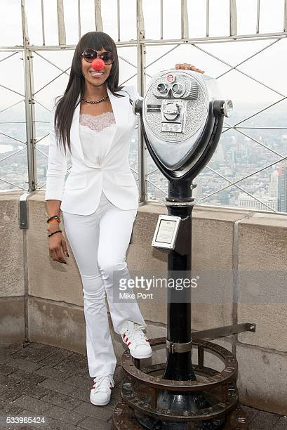 Naomi Campbell lights The Empire State Building in honor of Red Nose Day on May 24 2016 in New York City