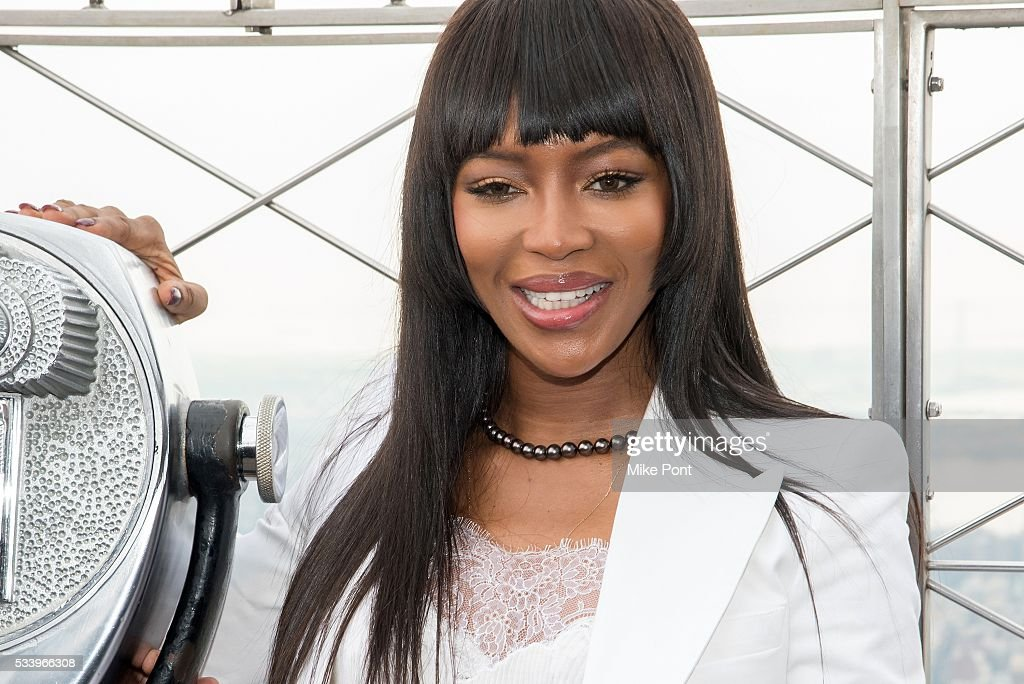 Naomi Campbell lights The Empire State Building in honor of Red Nose Day on May 24, 2016 in New York City.