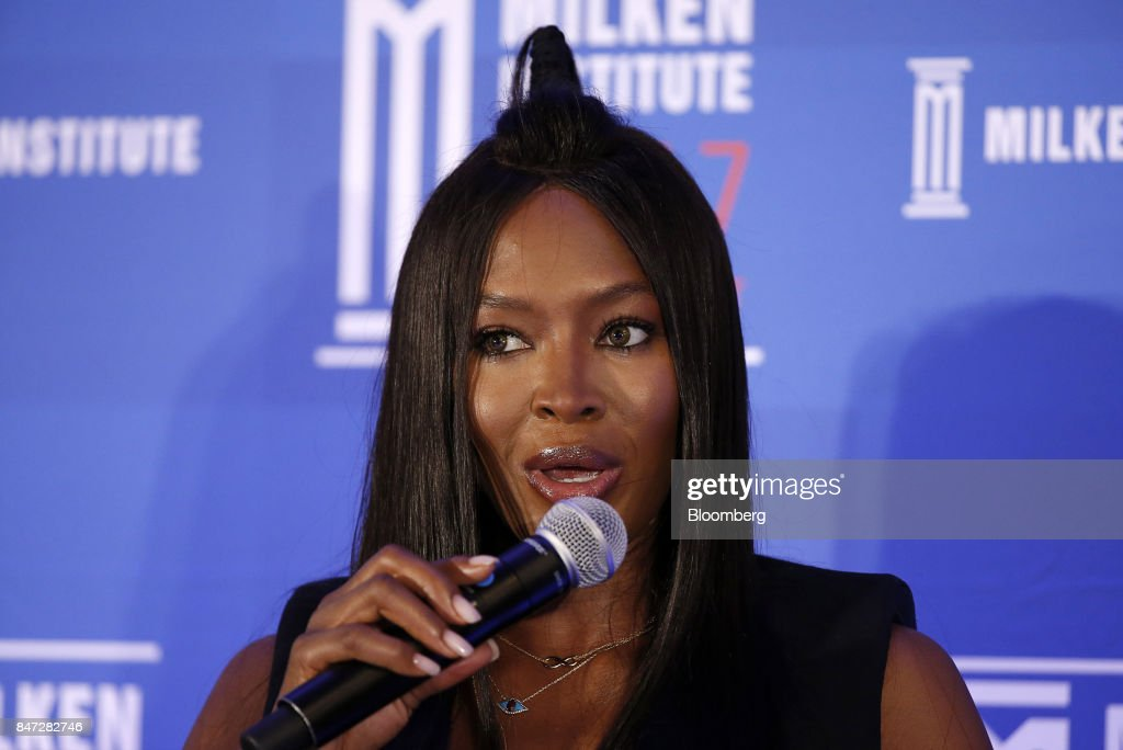 Naomi Campbell, model and businesswoman, speaks at the Milken Institute Asia Summit in Singapore, on Friday, Sept. 15, 2017. The conference concludes today. Photographer: Vivek Prakash/Bloomberg via Getty Images