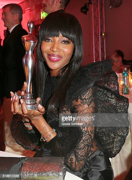 Naomi Campbell poses with her award during the Gala Spa Awards on April 2 2016 in BadenBaden Germany