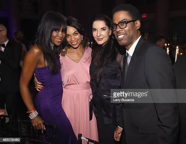 Naomi Campbell Rosario Dawson Marina Abramovic and Chris Rock attend the 2015 amfAR New York Gala at Cipriani Wall Street on February 11 2015 in New...