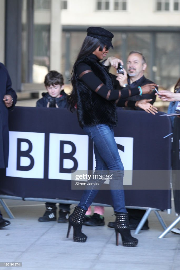 Naomi Campbell sighting at the BBC on October 29, 2013 in London, England.