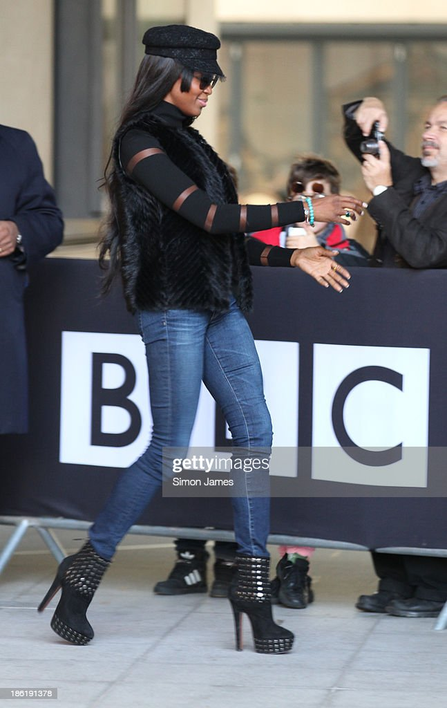<a gi-track='captionPersonalityLinkClicked' href=/galleries/search?phrase=Naomi+Campbell&family=editorial&specificpeople=171722 ng-click='$event.stopPropagation()'>Naomi Campbell</a> sighting at the BBC on October 29, 2013 in London, England.