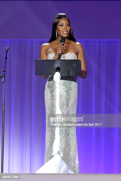 Naomi Campbell speaks on stage during the Life Ball 2017 show at City Hall on June 10 2017 in Vienna Austria