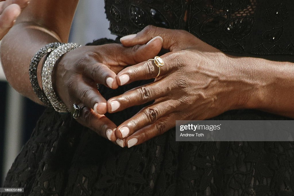 <a gi-track='captionPersonalityLinkClicked' href=/galleries/search?phrase=Naomi+Campbell&family=editorial&specificpeople=171722 ng-click='$event.stopPropagation()'>Naomi Campbell</a> (detail) takes part in the 'The Face' Season 2 Pop Up Fashion Show at Bryant Park on September 11, 2013 in New York City.