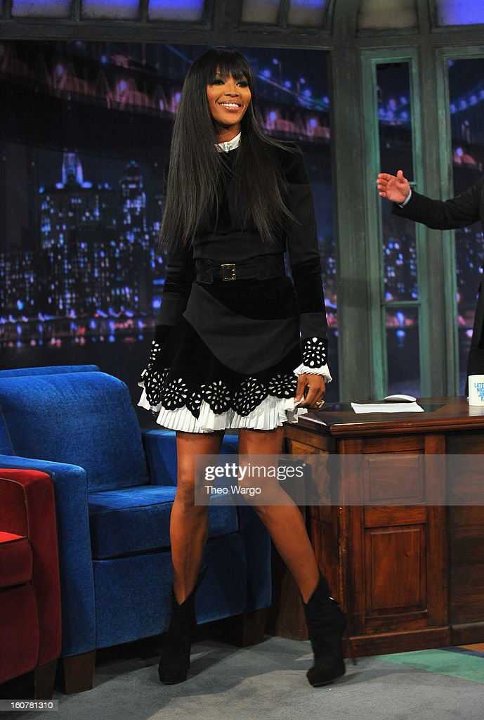 <a gi-track='captionPersonalityLinkClicked' href=/galleries/search?phrase=Naomi+Campbell&family=editorial&specificpeople=171722 ng-click='$event.stopPropagation()'>Naomi Campbell</a> visits 'Late Night With Jimmy Fallon' at Rockefeller Center on February 5, 2013 in New York City.