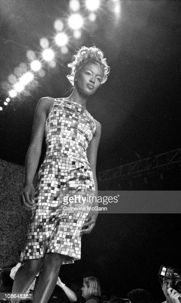 Naomi Campbell walks the runway at a Todd Oldham fashion show on October 31 1995 in New York City New York