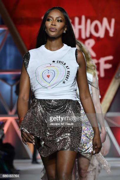 Naomi Campbell walks the runway at the Fashion for Relief during the 70th annual Cannes Film Festival at Aeroport Cannes Mandelieu on May 21 2017 in...