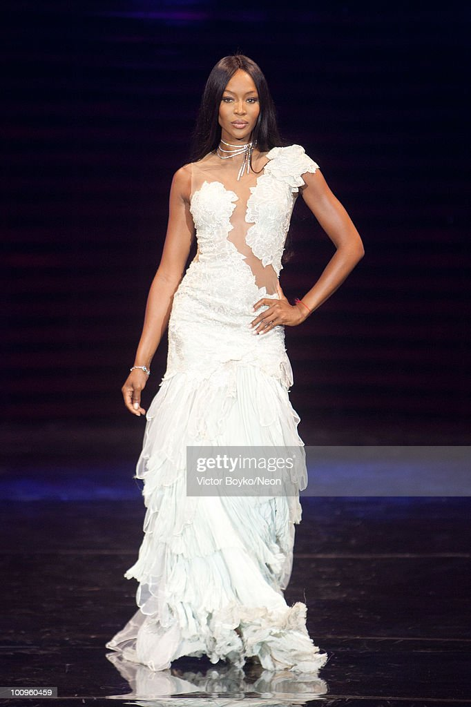 Naomi Campbell walks the runway at the NEON Charity Gala in aid of the IRIS Foundation on May 24, 2010 in Moscow, Russia.
