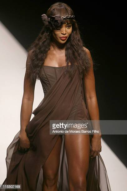 Naomi Campbell walks the runway during the Chapurin Pret a Porter show as part of the Paris Womenswear Fashion Week Spring/Summer 2010 at Le...