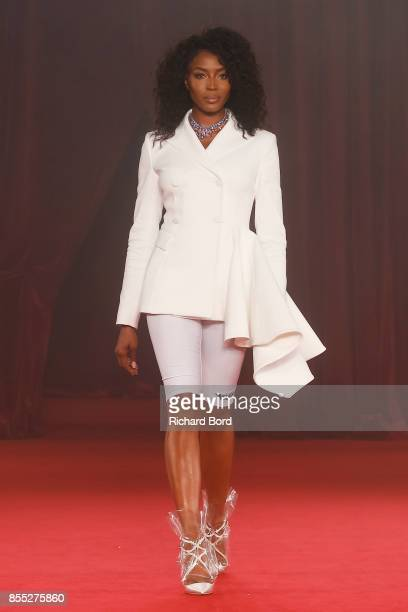 Naomi Campbell walks the runway during the Off/White show as part of Paris Fashion Week Womenswear Spring/Summer 2018 on September 28 2017 in Paris...
