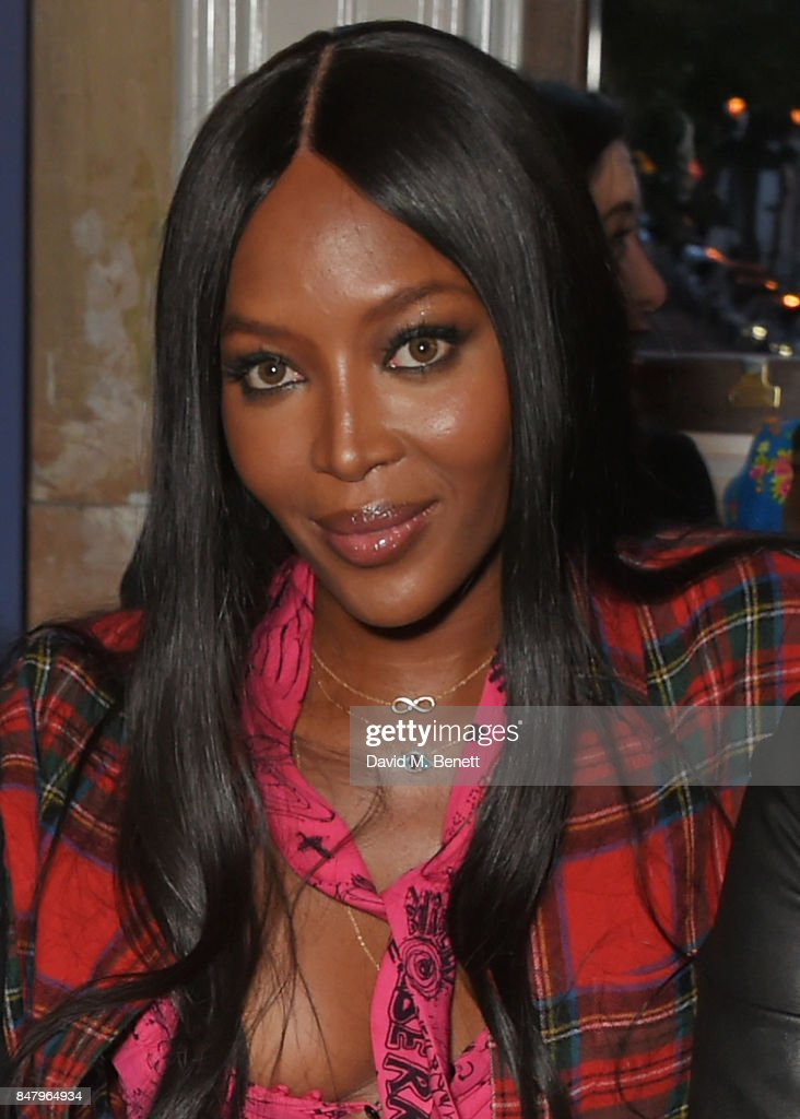 Naomi Campbell wearing Burberry at the Burberry September 2017 at London Fashion Week at The Old Sessions House on September 16, 2017 in London, England.