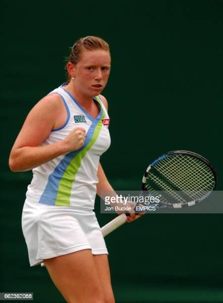Naomi Cavaday celebrates a ponint during her match against Martina Hingis