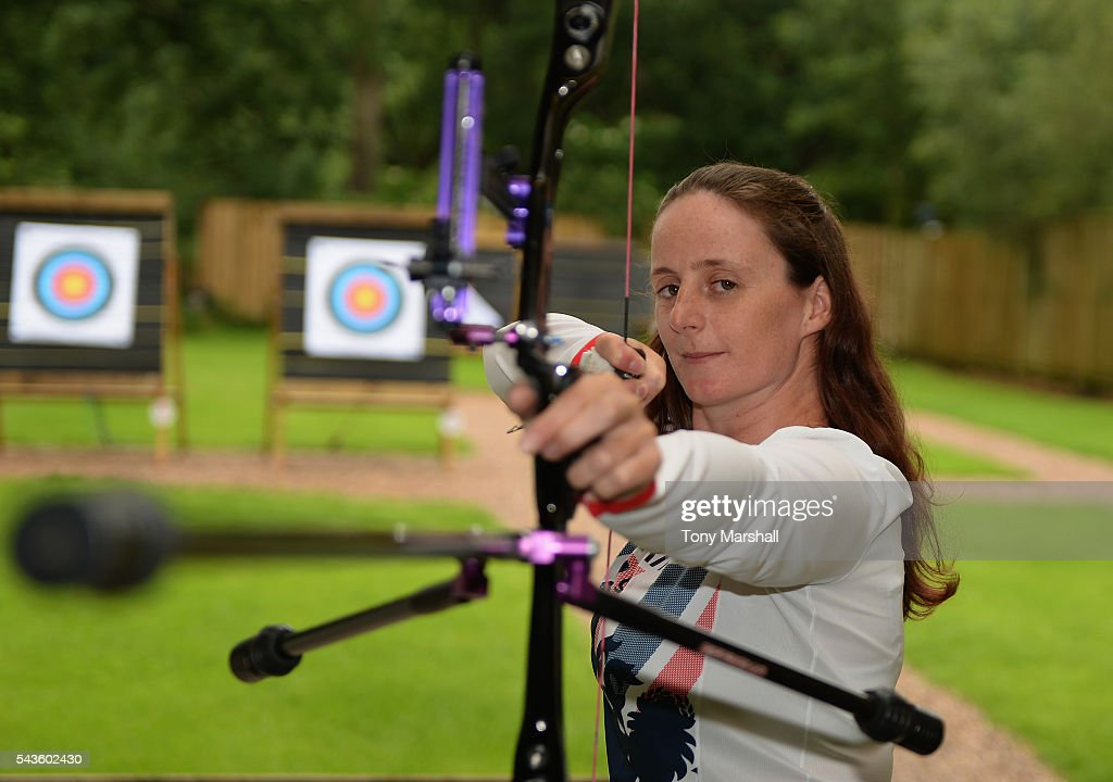 <a gi-track='captionPersonalityLinkClicked' href=/galleries/search?phrase=Naomi+Folkard&family=editorial&specificpeople=2960594 ng-click='$event.stopPropagation()'>Naomi Folkard</a> of Great Britain during the Announcement of Archery Athletes Named in Team GB for the Rio 2016 Olympic Games on June 29, 2016 in Coventry, England.