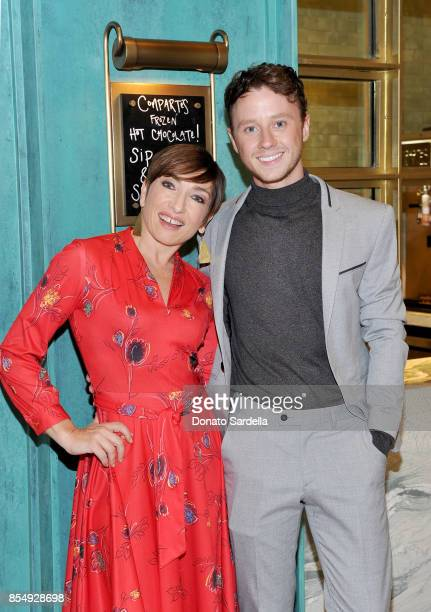 Naomi Grossman and Jeffrey Postlethwaite celebrate the Compartes Chocolatier Century City Flagship Store Opening on September 27 2017 in Los Angeles...
