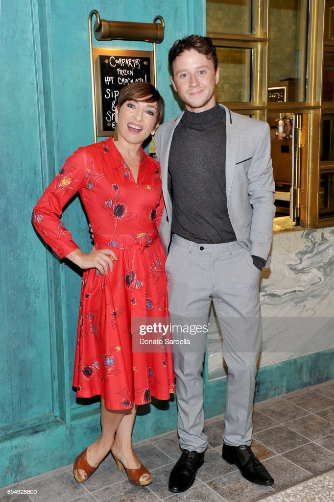 Naomi Grossman (L) and Jeffrey Postlethwaite celebrate the Compartes Chocolatier Century City Flagship Store Opening on September 27, 2017 in Los Angeles, California.