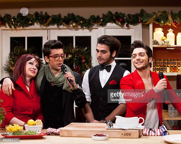 Naomi Judd Piero Barone Ignazio Boschetto and Gianluca Ginoble of Il Volo on the set of Hallmark Channel's 'Home Family' Holiday Special on November...