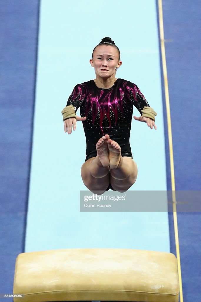 Naomi Lee of the ACT competes on the vault during the 2016 Australian Gymnastics Championships at Hisense Arena on May 28, 2016 in Melbourne, Australia.