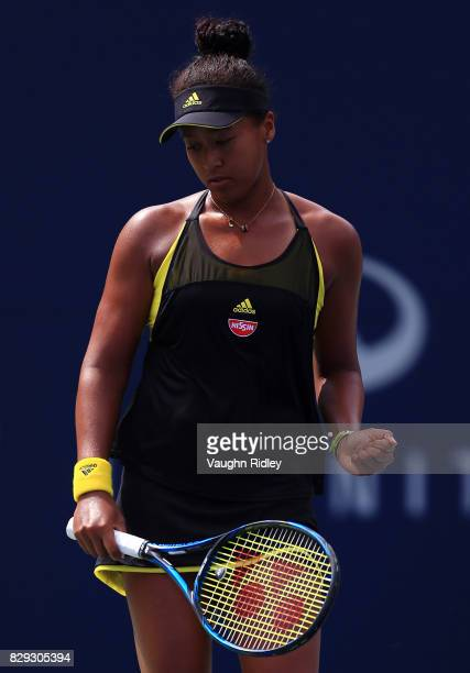 Naomi Osaka of Japan celebrates a point against Karolina Pliskova of Czech Republic during Day 6 of the Rogers Cup at Aviva Centre on August 10 2017...