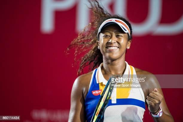 Naomi Osaka of Japan celebrates after winning Venus Williams during the Prudential Hong Kong Tennis Open 2017 match between Naomi Osaka of Japan and...