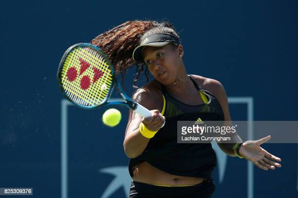 Naomi Osaka of Japan competes against Caroline Dolehide of the United States during day 2 of the Bank of the West Classic at Stanford University...