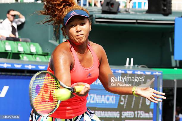 Naomi Osaka of Japan competes against Caroline Wozniacki of Denmark during women's singles Final match day 7 of the Toray Pan Pacific Open at Ariake...