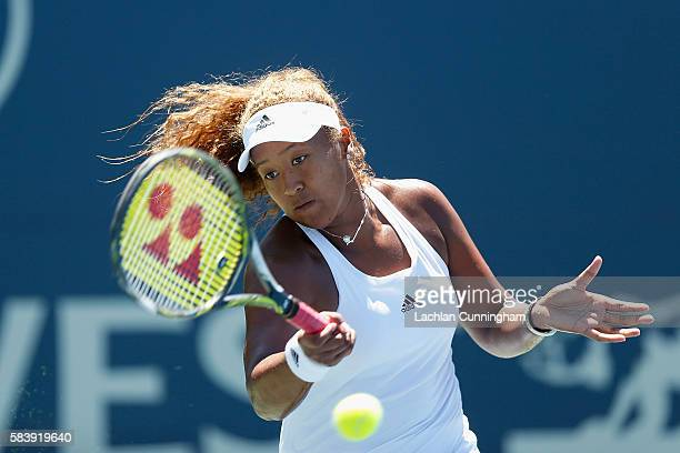 Naomi Osaka of Japan competes against Julia Boserup of the United States during day two of the Bank of the West Classic at the Stanford University...