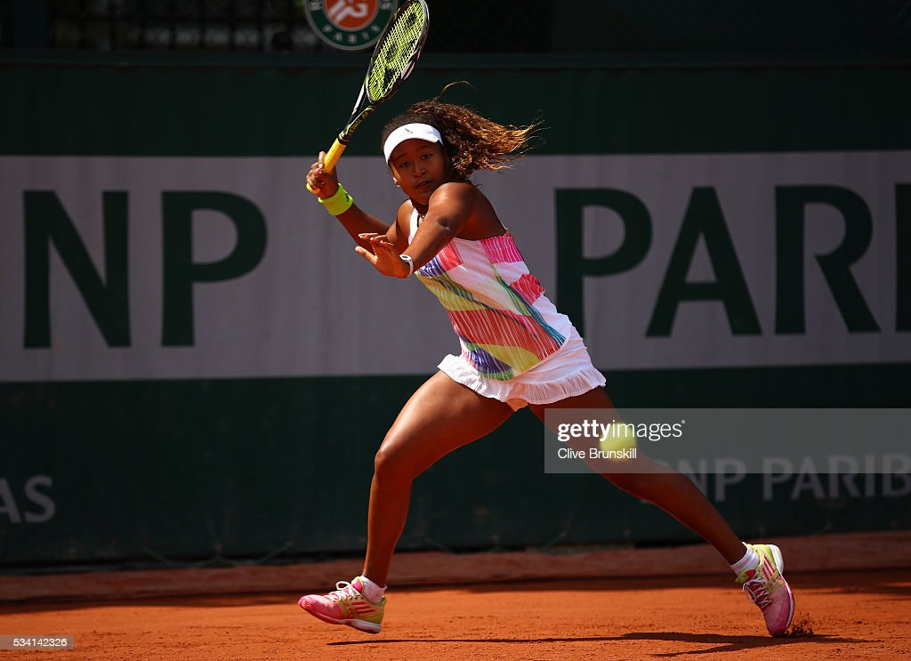 <a gi-track='captionPersonalityLinkClicked' href=/galleries/search?phrase=Naomi+Osaka&family=editorial&specificpeople=13424660 ng-click='$event.stopPropagation()'>Naomi Osaka</a> of Japan hits a forehand during the Ladies Singles second round match against Mirjana Lucic-Baroni of Croatia at Roland Garros on May 25, 2016 in Paris, France.