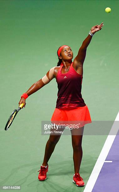Naomi Osaka of Japan in action against Caroline Garcia of France during the WTA Rising Stars Final at Singapore Sports Hub on October 25 2015 in...
