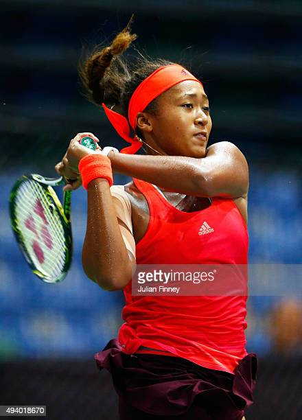 Naomi Osaka of Japan in action against Zhu Lin of China in a round robin match during the WTA Rising Stars Invitational at OCBC Arena on October 24...